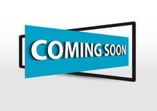 Bald kommen Blau der Fahnenförderung 3d Stockfoto