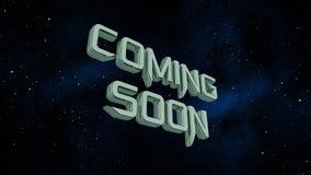 Bald kommen Mitteilung auf Raumgalaxiehintergrund Lizenzfreies Stockfoto