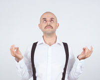 Bald male, in meditation pose, relaxing, in zen, Royalty Free Stock Image