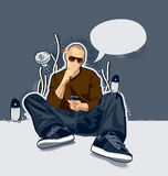 Bald man. On abstract vector background vector illustration