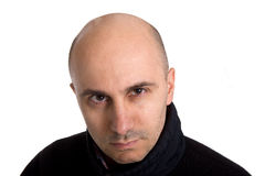 Bald man. With angry expression on white background Stock Image