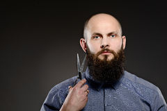 Bald man with a beard holding a pair of scissors. Grey background Royalty Free Stock Photos