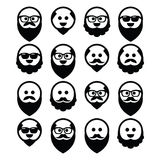 Bald man with beard and mustache icons set Stock Photo