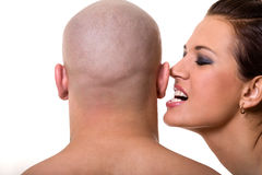 Bald man and beautiful girl Royalty Free Stock Photography