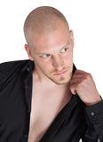 Bald man with blue eyes and sex appeal Royalty Free Stock Photography