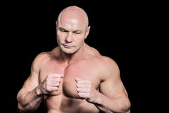 Bald man in boxing pose Royalty Free Stock Photos
