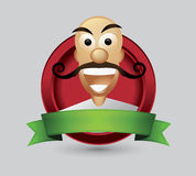 Bald man cartoon character wist mustache Stock Photography