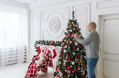 The bald man decorates a Christmas tree. Stock Images