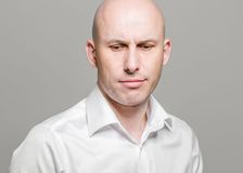 Bald man disappointed portrait Royalty Free Stock Image