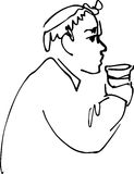 Bald man drinking from a cup Stock Images
