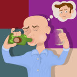 Bald man drinking a cure. Vector illustration of a bold man drinking a miracle hair-grown cure, or lotion against baldness vector illustration