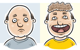 Bald Before and After. A bald man feels more confident even though his wig is mismatched stock illustration