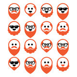 Bald man with ginger beard and mustache icons set Royalty Free Stock Photography