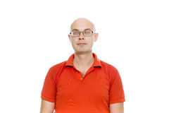 Bald man with glasses. Isolated on white Stock Photo