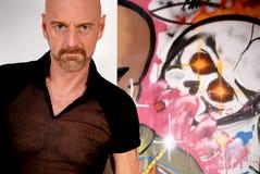 Bald Man, graffiti wall Stock Image