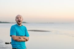 Bald man having fun Royalty Free Stock Photography