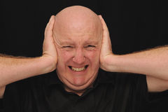 Bald Man with a Headache. Bald Caucasian Man holding his head and ears as if he is in pain or frustrated Royalty Free Stock Photo