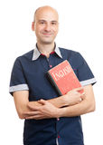 Bald man holding a book. Learn English Stock Image