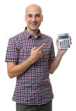 Bald man holding calculator Stock Images
