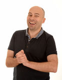 Bald man laughing Royalty Free Stock Images