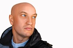 Bald man looking away on white background royalty free stock photos