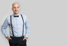 Bald man looking at copy space Royalty Free Stock Images