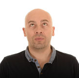 Bald man looking up Stock Photography