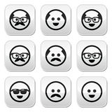 Bald man with mustache and in glasses faces buttons set Stock Image