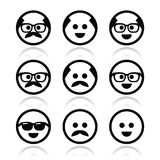 Bald man with mustache and in glasses faces icons set Royalty Free Stock Photography