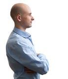 Bald man profile. Isolated on white background Royalty Free Stock Photo