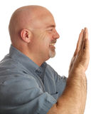 Bald man pushing something Stock Photos
