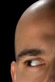 Bald man right eye. Bald man closeup. Right eye looking left Stock Photos