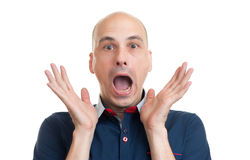 Bald man with shocked facial expression Royalty Free Stock Photo