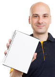 Bald man showing blank notepad Royalty Free Stock Photography