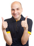 Bald man showing his thumb up Stock Images