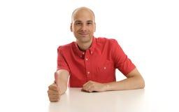 Bald man showing thumb up gesture Royalty Free Stock Photos