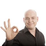 Bald man sign perfect smiling Royalty Free Stock Photos