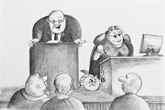 Boring meeting.Drawing in pencil on paper. Cartoon. The bald man speaking a speech, and a woman teasing of a cat Stock Image
