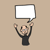 Bald man and speech balloon Royalty Free Stock Images