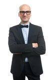 Bald man in a suit and bow tie Stock Photos