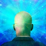 Mind Technology. Bald man in suit. Shining light. Human elements were created with 3D software and are not from any actual human likenesses Royalty Free Stock Photos
