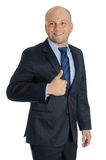 Bald Man with Suit and thumbs up in white background Royalty Free Stock Photography