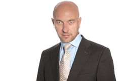 Bald man in a suit and tie. On a white background Stock Photos