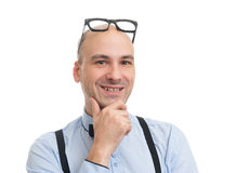 Bald man wearing bow tie and suspenders Stock Image