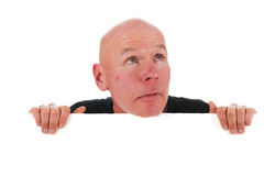 Bald man with white board Stock Photo