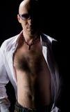 Bald man in a white shirt Royalty Free Stock Photos