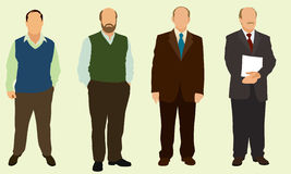 Bald Men. Bald business men wearing suits and business casual clothing stock illustration