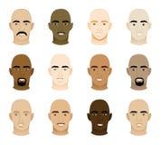 Bald Men Faces. Vector Illustration of 12 different Bald Men Faces Royalty Free Stock Photos