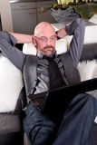 Bald middle aged man home Royalty Free Stock Photography