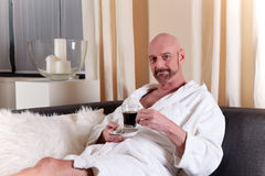 Bald middle aged man home Stock Image